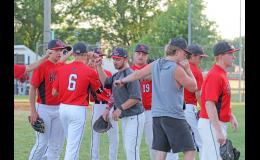 Greene County head baseball coach Matt Paulsen (center) is a 2013 graduate of the school, enjoying his first year at the helm.  BRANDON HURLEY | JEFFERSON HERALD