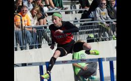 Eme Johnson has run a lot of hurdle races in her four years of high school. She concluded her career on Saturday by anchoring the shuttle hurdle relay team which placed seventh in Class 3A