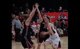 Ram senior Kayla Mobley is seen driving to the basket in her last home game versus Roland-Story.