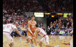 University of Texas freshman Jaxson Hayes (10) sets a screen on Iowa State's Nick Weiler-Babb during a Feb. 2 game in Ames. Hayes, a projected top 20 pick in this summer's NBA draft, is the son of Jefferson-Scranton six-on-six legend, Kristi (Kinne) Hayes.   BRANDON HURLEY   JEFFERSON HERALD