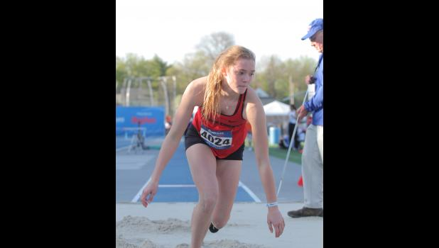 Greene County's Brianna Osterson placed seventh in the Drake Relays long jump Thursday, April 25 with a top jump of 17-03. tying her own Greene County school record.  BRANDON HURLEY | JEFFERSON HERALD