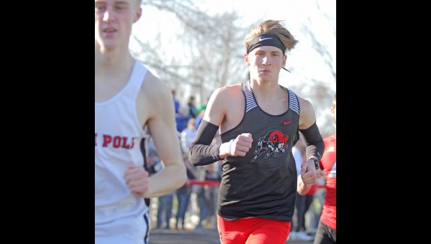 Greene County's Logan Woodruff placed fifth in the boys' 3,200-meter run Monday, March 29 during the Ram Early Bird Relays, finishing with a time of 11:45.09.  BRANDON HURLEY | JEFFERSON HERALD