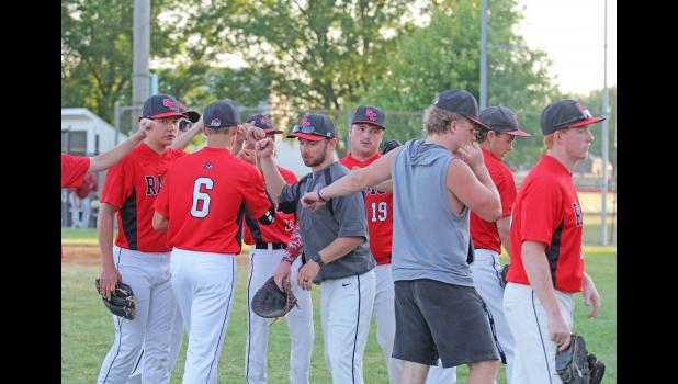 Greene County head baseball coach Matt Paulsen (center) is a 2013 graduate of the school, enjoying his first year at the helm.  BRANDON HURLEY | JEFFERSON HERALD