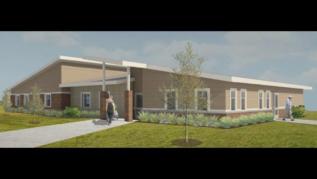 An architect's rendering shows the new community center envisioned for Grand Junction. Backers hope to break ground on Main Street this spring.