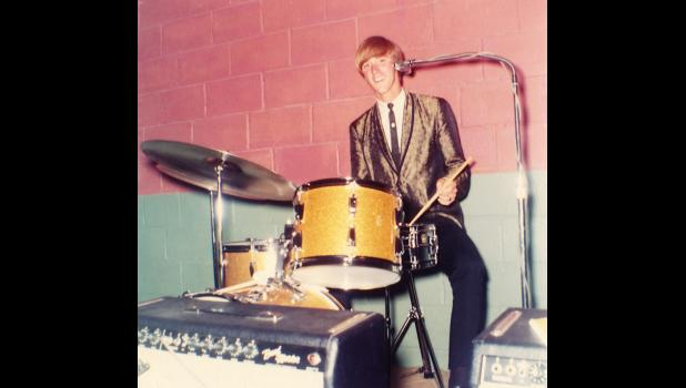 David Baller behind his drums