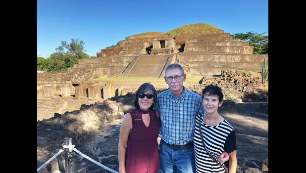 Jefferson residents Marvin and Beth Rasmussen (center and right) are pictured last month at ancient Mayan ruins near Chalchuapa, El Salvador, with their son-in-law's mother, Maria Mendoza. It was an unlikely vacation destination: El Salvador's murder rate is among the highest in the world, sending migrants fleeing for the U.S. border. CONTRIBUTED PHOTOS