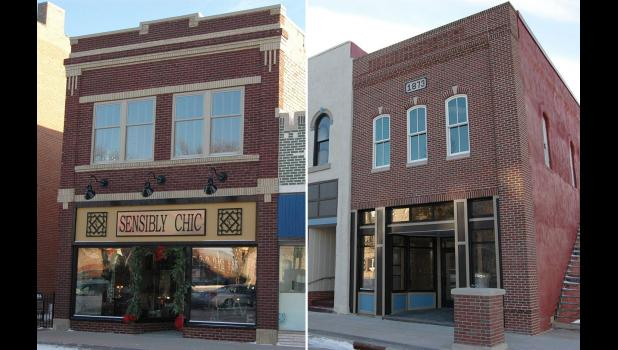 "Built to last: It could be a lifetime before another mason gets to work as extensively on Jefferson's historic Square as Mark Devilbiss, whose handiwork revived the brick building that's home to Sensibly Chic (left) and gave Muir Embroidery (right) a new lease on life after its stuccoed facade fell off. ""He's the best anywhere,"" says Rosie Tucker, owner of Sensibly Chic."