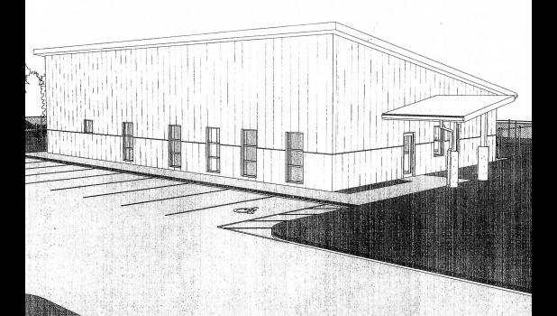 An architectural rendering shows the planned Greene County Animal Shelter, now envisioned as a metal building instead of brick to save money. Even still, bids all topped $1 million, putting the project at risk of failing.