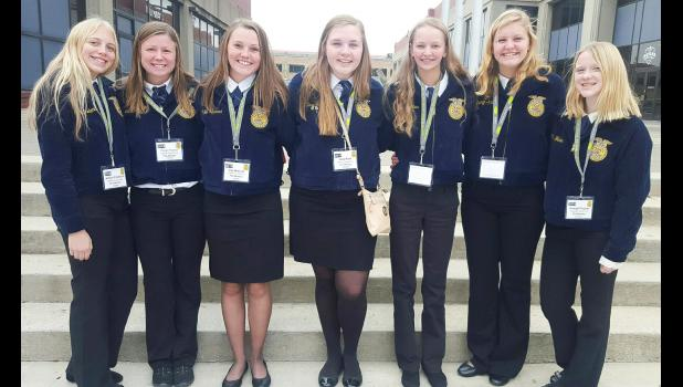 Fifty years after membership in FFA was opened to girls, seven of eight FFA officers at Greene County High School are girls. They are (from left) Ashlyn Frederick, Tieryn Tucker, Izzy Bravard, Kara Reed, Kayla Muir, Lauryn Killion and Kendall Fecher. CONTRIBUTED PHOTO