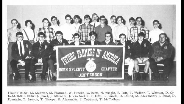 """""""It didn't bother me to be the first. I wanted it so bad,"""" says Joyce Allender (second from left in the back row), the first girl to join FFA in Jefferson in 1969, the year FFA opened membership nationally to girls."""