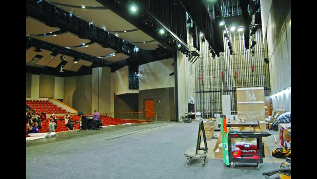 """""""It's gonna be a whole new ballgame,"""" predicts Clay Ross, president of the Community Players of Greene County. Greene County High School's new auditorium boasts a fly system designed with input from Broadway consultants, making it more akin to a performing arts center than a high school auditorium. ANDREW McGINN 