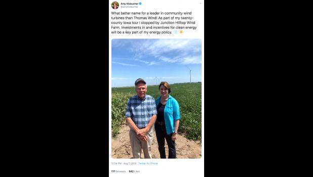 U.S. Sen. Amy Klobuchar, of Minnesota, visited the Junction Hilltop Wind Farm on Aug. 7 and all she got was this lousy tweet.