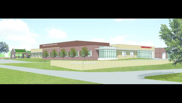 A rendering shows what the Greene County Medical Center will look like in 2016 from the corner of Lincoln Way and Grimmell Road.