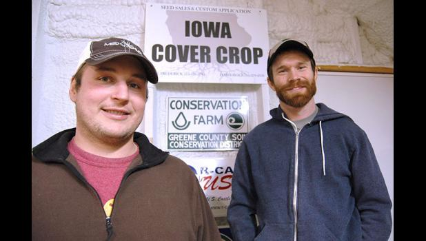 Greene County farmers and entrepreneurs James Holz (left) and Bill Frederick are convinced that cover crops that hold nutrients in place are the most probable way to address Iowa's water quality woes. They established Iowa Cover Crop in 2014 to seed fields in the off-season with everything from rye and oats to hairy vetch and radishes. While business has doubled every year, still only 2 percent of Iowa farmland acres are seeded with cover crops. ANDREW McGINN | JEFFERSON HERALD