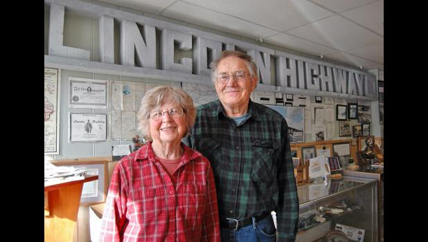"Joyce and Bob Ausberger are pictured at their Lincoln Highway museum in Grand Junction. With their drive 30 years ago to save Eureka Bridge west of Jefferson, the Ausbergers started a movement to preserve Iowa's 460-mile stretch of the nation's first transcontinental highway. The movement reached its apex on Feb. 16 with designation of the Lincoln Highway in Iowa as a National Scenic Byway. ""The designation we've been fighting for,"" Joyce says. ANDREW McGINN 