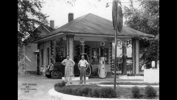 Mike Beckner and Dick Dillavou stop for a photo outside their Deep Rock gas station on the Lincoln Highway in Jefferson, 1930. In 2014, the Jefferson Community Betterment Foundation returned the site to its former splendor, complete with an old gas pump. Built in 1923 at the corner of today's Cedar Street and Lincoln Way, a long line of people owned and operated the Deep Rock station. Its most well-known incarnation was as Pete and Paul's Deep Rock from 1953 to 1977, owned by Paul McNulty and Pete Garrity.