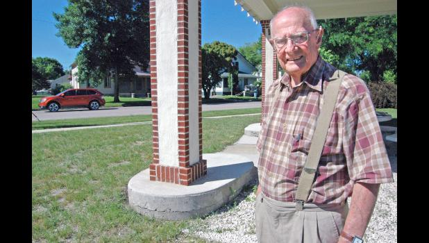 "LEFT: Pictured outside the Deep Rock station in 2014 as it was being restored, the now-late Bob Owens helped keep memories of the Lincoln Highway alive. A Jefferson native, Owens died in 2019 at age 92. Owens would have been excited about the recent designation of the Lincoln Highway in Iowa as a National Scenic Byway, says longtime friend Bob Ausberger. ""He was a good PR person,"" says Joyce Ausberger. ""We really miss him."""