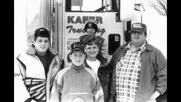A great big convoy: The Kafer family (from left) Robert, Wayne, Diane and Bill, with baby grandson Jac Strabley, in 1994.