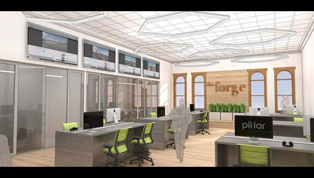 A working space worthy of Silicon Valley. Jefferson would be the software firm's fifth office — each one called a Forge — behind Columbus, Ohio, Ann Arbor, Mich., Palo Alto, Calif., and Des Moines. But the deal could hinge almost entirely on whether local voters April 3 approve a school bond issue, which calls for the creation of a regional career academy in partnership with Iowa Central Community College.