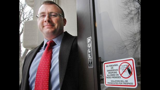 Guns are already prohibited from the Greene County courthouse, but a new courthouse security committee led by Assistant County Attorney Thomas Laehn (pictured) will be recommending additional security measures to the board of supervisors. Laehn and Sheriff Jack Williams say a metal detector could be put into use on days of contentious court hearings. ANDREW McGINN | JEFFERSON HERALD