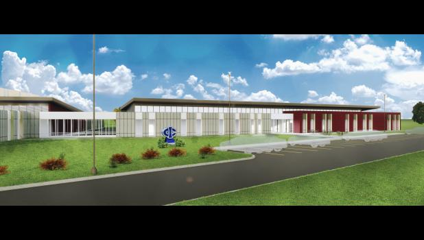Depicted in an image by OPN Architects, a proposed regional career academy operated by Iowa Central Community College and connected to a new Greene County High School would follow the lead of the college's career academy in Eagle Grove.