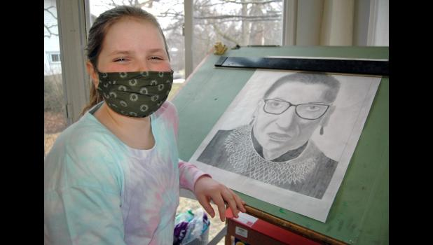 Adi Gallagher, 14, was supposed to be a freshman this year at Greene County High School, but opted for remote learning amid COVID-19. She drew her first-ever portrait, of the late Ruth Bader Ginsburg, as part of her online Intro to Art class. ANDREW McGINN | JEFFERSON HERALD