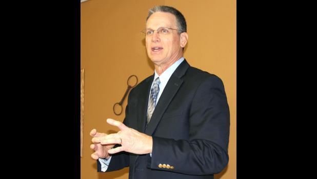 Sen. Jerry Behn speaks at a Jefferson legislative forum on Saturday.