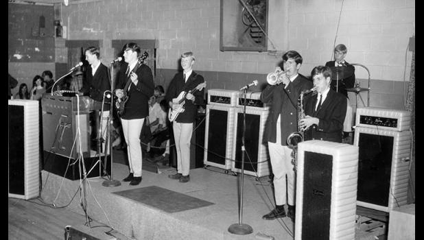 "Rockin' the rink: Elm Street Grocery (from left, Jim Heath, Hank Davis, Steve Hance, Jim Oatts, Rick Arbuckle and Scott Sutherland) play the Greene County Roller Rink (present-day Spare Time Lanes) circa 1968. The band's ranks included a future Grammy winner, a future Wilson Pickett sideman and a woodwind player who helped bring ""SpongeBob SquarePants"" to life. Not bad for a bunch of kids from Jefferson."