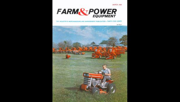 Cover model: A young Kim Rueter mows the display area of his dad's Massey Ferguson dealership in Grand Junction, 1968, a job that took up most of his Saturday mornings.
