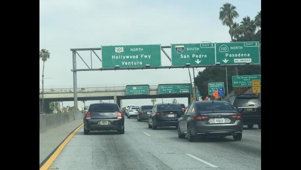 """The view from Aaron Hawn's office: If there's a trick to navigating Los Angeles traffic, """"I hope to learn it soon,"""" he says. """"The carpool lane is just as slow as the other lanes."""" SUBMITTED PHOTO"""
