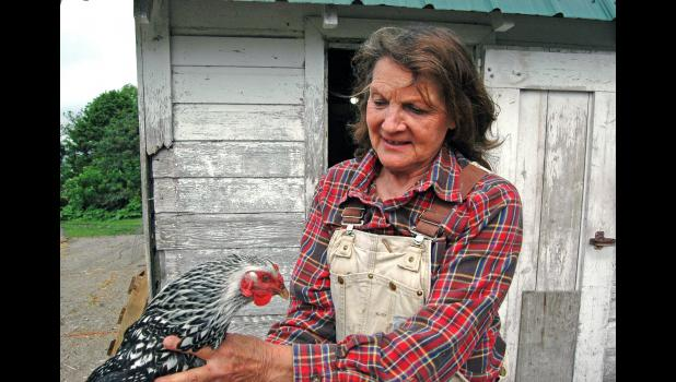 """Mary Hillman, of rural Grand Junction, has chicken and eggs to sell. She refutes an ominous statement made April 26 by the chairman of Tyson Foods Inc. that, """"The food supply chain is breaking."""""""