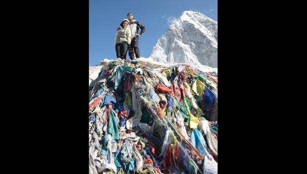 Tibetan prayer flags are piled near the top of Kala Patthar, which has an elevation of 18,519 feet.