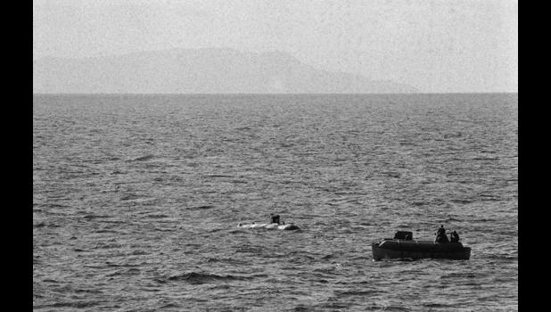 What could have been: Soviet boats in 1983 shadow salvage operations for Korean Air Lines Flight 007, which was blasted out of the sky by a Soviet fighter jet near the area where Pennell's flight got off course in 1968. All 269 passengers and crew members were killed.