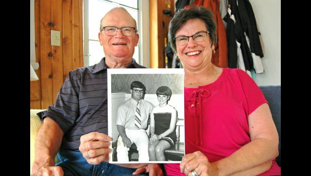 "The golden years: Steve and Karen McCoy, of Jefferson, will observe their golden wedding anniversary on Saturday. Fifty years ago, they were selected as the ""local bridal couple of 1970"" by Jefferson newspaper readers. ANDREW McGINN 