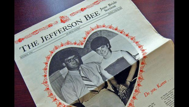"""We've always been great friends, too,"" Karen McCoy says, 50 years after they graced the front of the Jefferson Bee's annual ""June bride section."""