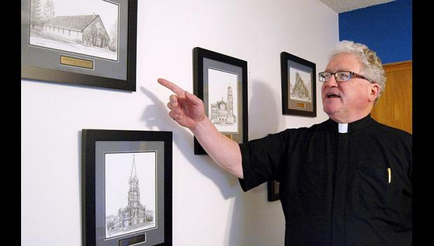 Monsignor Kevin McCoy, a Jefferson native, talks about the five churches that have combined to form Holy Trinity Parish in Fort Dodge. McCoy, 64, is one of just two priests serving Webster County, a county four times the size of his native Greene County. He also has a major administrative role in the diocese as vicar general. ANDREW McGINN | JEFFERSON HERALD