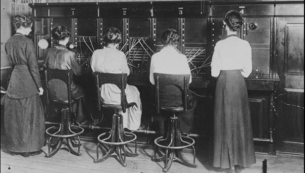 "An undated photo shows telephone operators in Jefferson doing their thing. According to information in the Jefferson Telecom museum, women began to be hired as operators in the late 1800s because boys were ""hard to train, rude and unreliable."""
