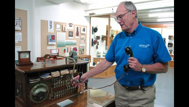 Jefferson Telecom General Manager Jim Daubendiek explains how the Citizens Mutual phone company of Jefferson used a special switchboard for testing of its lines. A renovation of the Jefferson Telecom museum is expected to be complete within a year. ANDREW McGINN | JEFFERSON HERALD PHOTOS