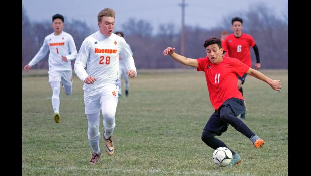 With Junior Gutierres (right) returning for a senior year, the Greene County Rams boys' soccer team may have been a serious contender for a 2020 state title. Unfortunately, the spring season was scrapped by COVID-19. Gutierres, a native of Honduras who ventured to the U.S. alone as a teenager, has dreams of playing in the MLS. HERALD FILE PHOTO