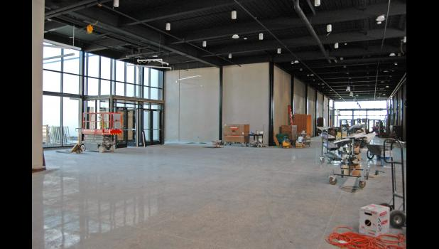 A view of the new high school's commons area. The doors will be used by students coming and going on buses. ANDREW McGINN | JEFFERSON HERALD PHOTOS