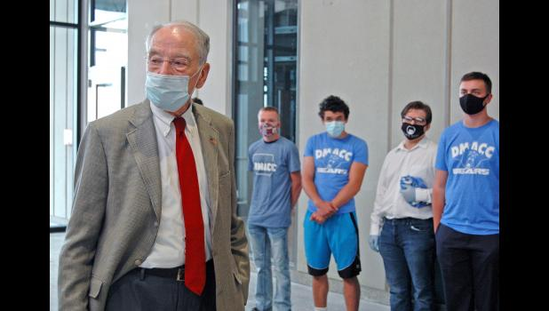 U.S. Sen. Charles Grassley, R-Iowa, visits the new Greene County High School in Jefferson on Aug. 20, where he met tech students and took questions from local development leaders and others. ANDREW McGINN | JEFFERSON HERALD