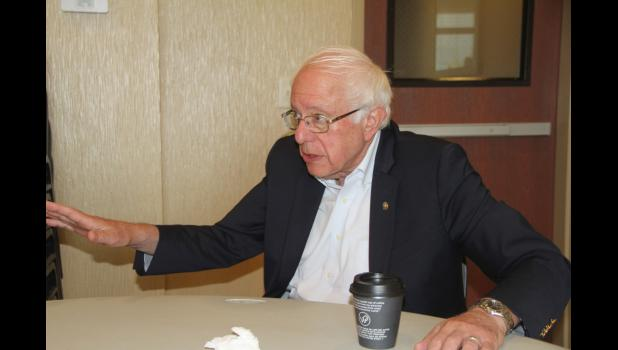 Democratic presidential candidate Bernie Sanders, a U.S. senator from Vermont, talks Aug. 21 with The Jefferson Herald at Cobblestone Hotel & Suites. Sanders released a plan to boost workers' rights and labor unions that morning.