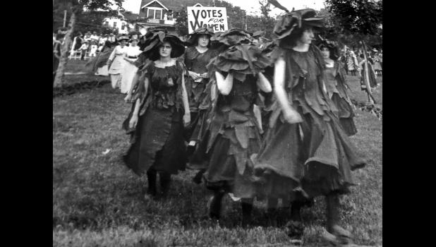 Suffragists rally in Russell Park ahead of a statewide referendum in 1916 on giving women the right to vote. Greene County men approved the measure — 1,692 to 1,018 — but the issue failed statewide by 10,000 votes. The question of women voting wouldn't be settled until Aug. 26, 1920, when the 19th Amendment was adopted as part of the U.S. Constitution.