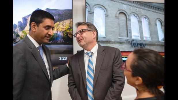 """The tech companies aren't here out of charity,"" says U.S. Rep. Ro Khanna (left), who represents Silicon Valley in Congress. Case in point: Khanna visits Saturday in Jefferson with Will Castleberry, vice president for state policy for Facebook. JACOB FISCUS 