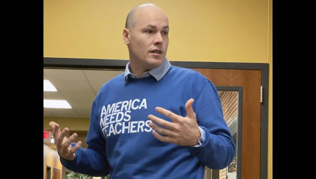 """Democratic congressional candidate J.D. Scholten, pictured in 2019 on his """"Don't Forget About Us"""" tour of cities under 1,000, says President Donald Trump's statement that people should try to vote twice is illegal. HERALD FILE PHOTO"""