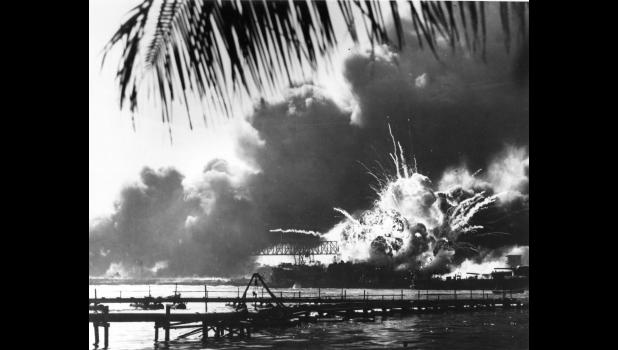 The forward magazine of the USS Shaw, a U.S. Navy destroyer, explodes Dec. 7, 1941, during the Japanese raid on Pearl Harbor. More than 2,400 Americans died in the surprise attack on Pearl Harbor, including Fireman 2nd Class George C. Ford, whose remains were unable to be identified until this year. Ford will be buried Saturday in Glidden.