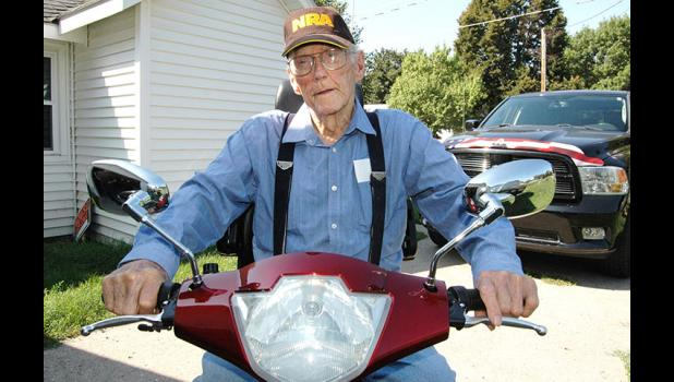 Wendell Lindahl provoked the ire of police this summer for taking his electric mobility scooter to congregate meals. The scooter is his only means of transportation. HERALD FILE PHOTO