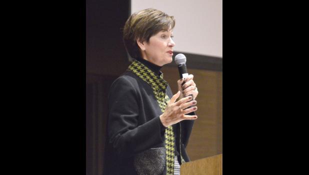 Iowa Lt. Gov. Kim Reynolds speaks about STEM education initiatives at the Educator Employer Summit at Wild Rose Casino last Thursday. MATTHEW REZAB | JEFFERSON HERALD