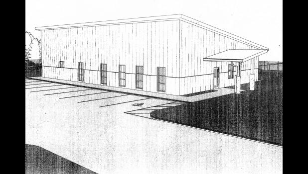 An architectural rendering shows the planned Greene County Animal Shelter, now envisioned as a metal building instead of brick to save money.