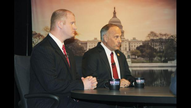 Democratic challenger Jim Mowrer (left) presented a contrast with U.S. Rep. Steve King's conservative approach to government during a debate last week on the campus of Buena Vista University.